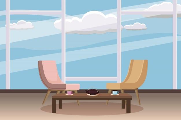 Stoelen, theetafel, furnitiure, venster, theepot, kopjes, sjabloon voor het interieur, een woonkamer
