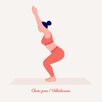 Stoelyoga pose jonge vrouw die yoga-oefening beoefent