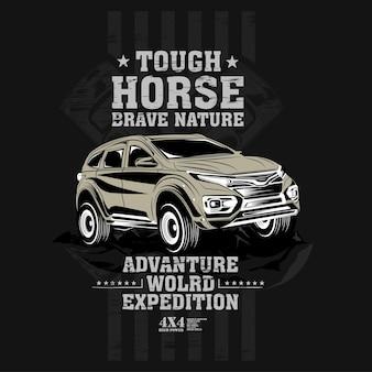 Stoere paarden rijden de natuur, vierwielaandrijving offroad auto illustratie