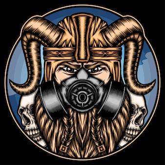 Stoere viking met gasmasker.