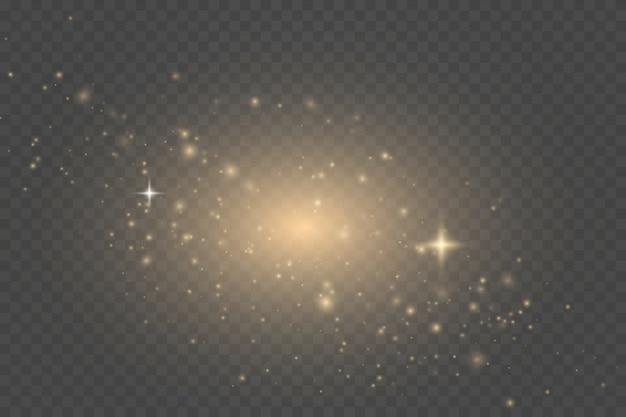 Stof goud. witte vonken en gouden sterren schijnen met speciaal licht. kerst abstract patroon.