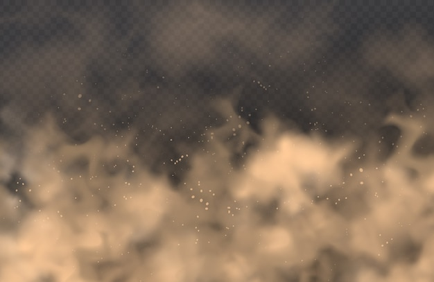 Stof, zandwolk, poederspray, smog op transparante achtergrond. realistisch