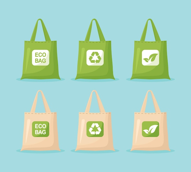 Stoffen eco-tassen. geen plastic zak, gebruik je eigen milieuvriendelijke pakket