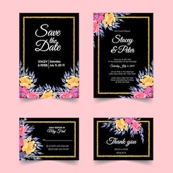 Stoffige bloemen bruiloft uitnodiging ingesteld sjabloon