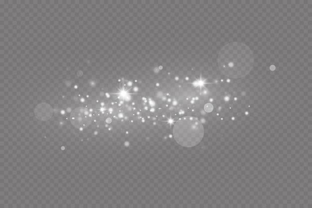 Stofvonken en sterren schitteren met een speciaal licht kerstlichteffect glinsterende deeltjes
