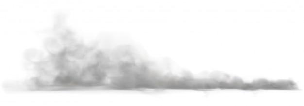 Stofwolk op een stoffige weg van een auto.