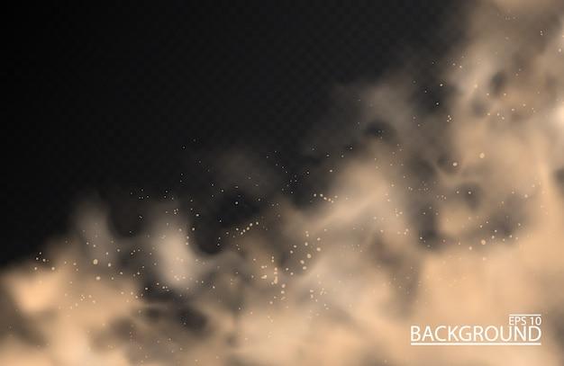 Stofwolk van zandpoederspray smog