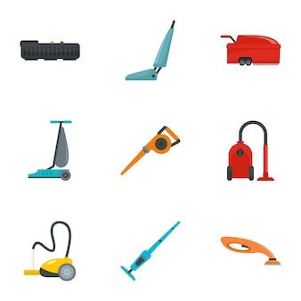 Stofzuiger pictogramserie. platte set van 9 stofzuiger vector iconen