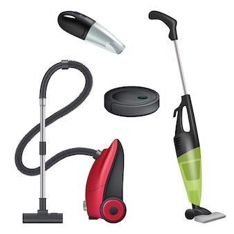 Stofzuiger. realistische apparatuur voor het reinigen van moderne automatische reinigers. Premium Vector