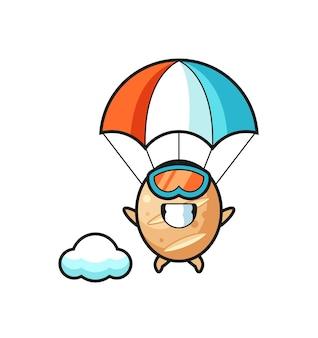 Stokbrood mascotte cartoon is aan het parachutespringen met een gelukkig gebaar, schattig ontwerp