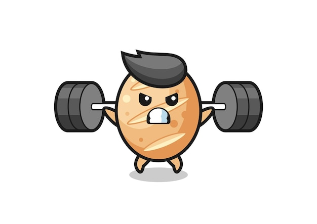 Stokbrood mascotte cartoon met een barbell, schattig ontwerp