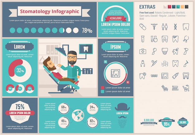 Stomatologie platte ontwerp infographic sjabloon