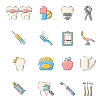 Stomatologie tandheelkundige pictogrammen instellen