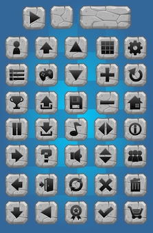 Stone game button pack