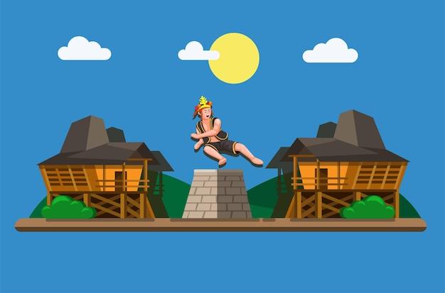 Stone jumping of hombo batu was een mannelijkheidsritueel voor jongens op het eiland nias, indonesië.
