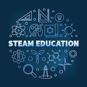 Stoom onderwijs concept blauwe lineaire ronde pictogram illustratie