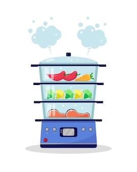 Stoomboot met voedsel. groenten en vis worden gekookt in een stoomboot. koken in een stoombootconcept. illustratie.