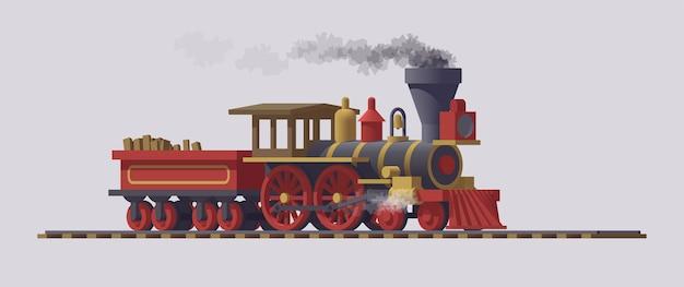 Stoomlocomotief beweegt op het spoor