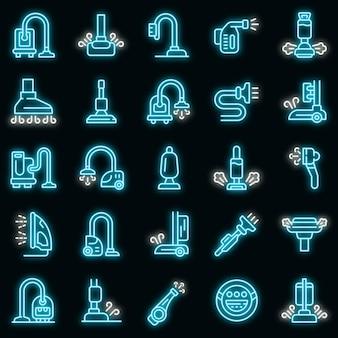Stoomreiniger pictogrammen instellen. overzicht set stoomreiniger vector iconen neon kleur op zwart