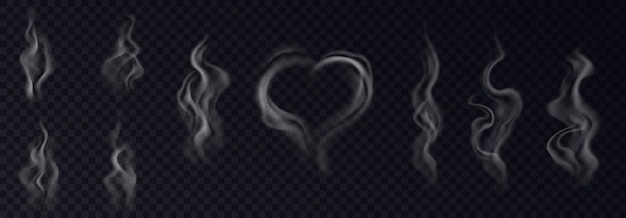 Stoomrook realistische set met hart en swirl vormige witte damp op zwarte transparante achtergrond geïsoleerd. stoom effect collectie. 3d vectorillustratie
