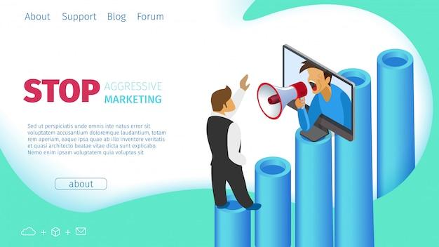Stop agressieve marketing platte vectorillustratie