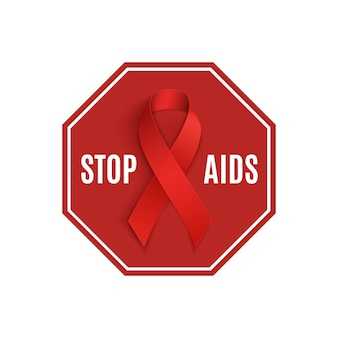 Stop aids-bord met rood lint.