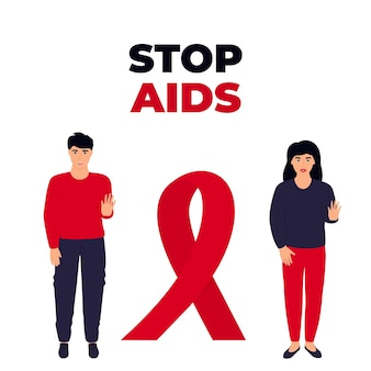 Stop aids. een jong stel en een meisje staan in de buurt van een enorm rood lint.