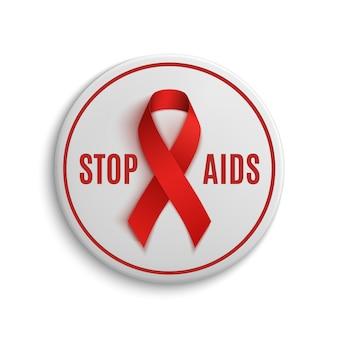 Stop aids witte badge met rood lint. illustratie.
