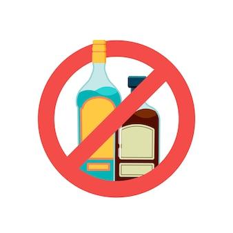 Stop alcoholteken. alcoholische drank, bier in rood verbodssymbool. geen alcoholisme