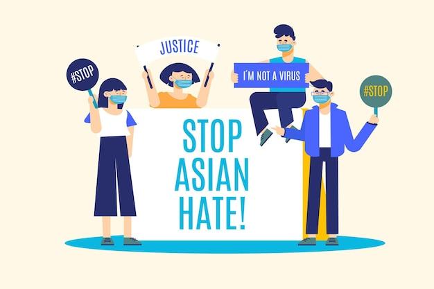 Stop aziatische haat beweging vlakke afbeelding