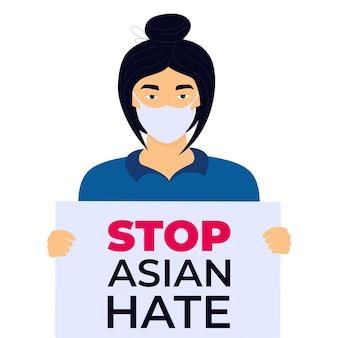 Stop aziatische haat poster. racisme misdaad. chinese vrouw houdt banner.