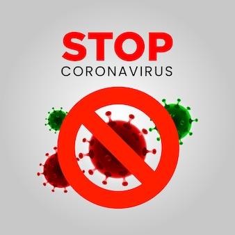 Stop corona virus covid-19 achtergrond met viruscellen