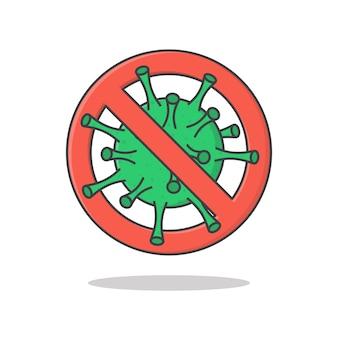 Stop corona virus teken en symbool vector pictogram illustratie. coronavirus-pictogram met rood verbodsbord plat pictogram