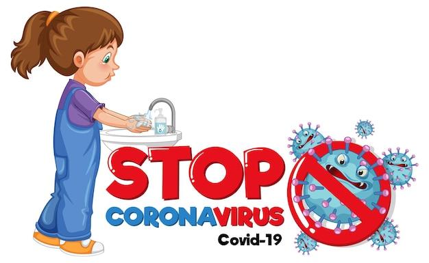 Stop coronavirus-banner met een meisje dat handen wast op een witte achtergrond