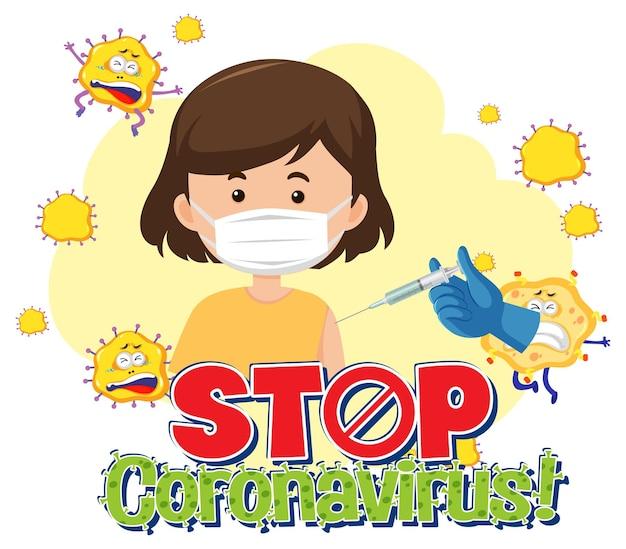 Stop coronavirus-banner met patiënt die medisch masker draagt