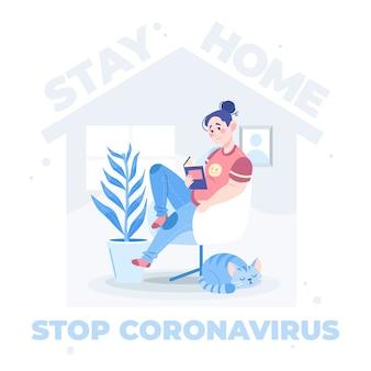 Stop coronavirus geïllustreerd concept