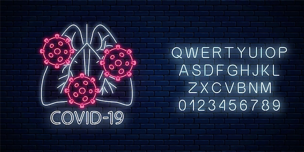 Stop coronavirus neon teken met alfabet. covid-19 viruswaarschuwingsbord met het symbool van de menselijke longen in neonstijl