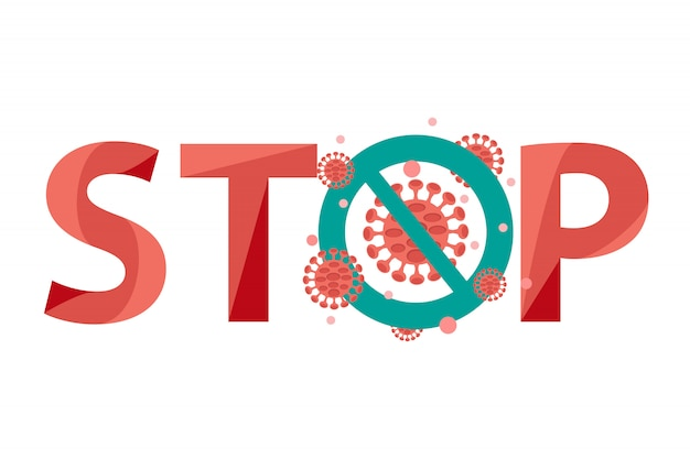 Stop covid-19 coronavirus. virussen en bacteriën