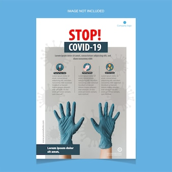 Stop covid-19 flyer-sjabloon met blauwe handschoenen