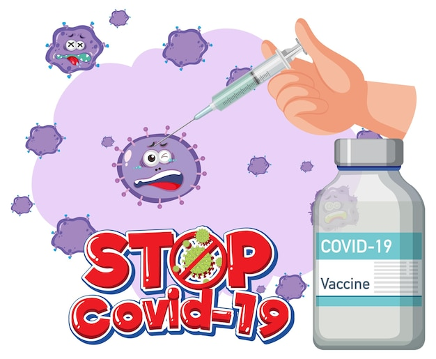 Stop covid-19-logo of banner met covid-19-vaccinfles en coronavirusteken