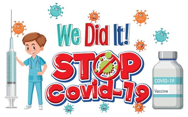 Stop covid-19-logo of banner met een arts en een covid-19-vaccinfles