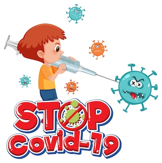 Stop covid-19-logo of banner met stripfiguur en covid-19-teken