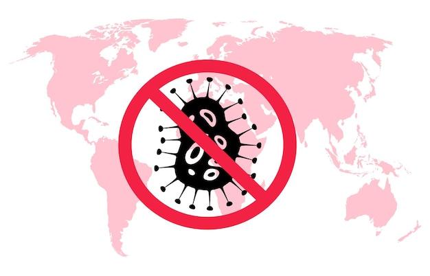 Stop covid-19. rode wereldkaart en symbool van wereldwijde griep beschermen, vectorcoronavirusconcept