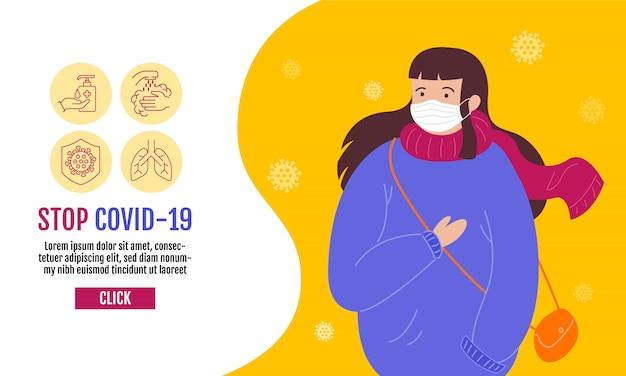 Stop covid-19-sjabloonbanner, mensen die een beschermend medisch masker dragen om het virus wuhan covid-19 te voorkomen