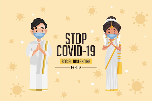 Stop covid 19 social distancing banner design