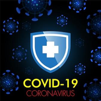 Stop covid19 corona virus blauwe achtergrond