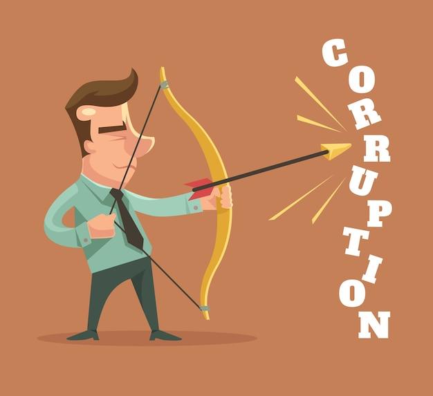 Stop de corruptie. man gebroken corruptie woord.