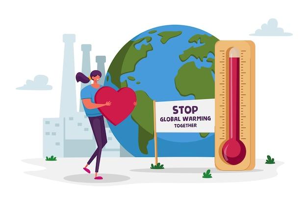 Stop de opwarming van de aarde samen milieuconcept