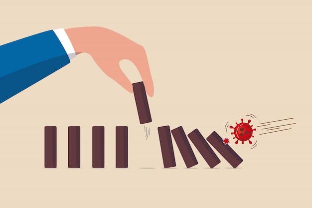Stop domino-effect van instorting van markt en economie, financiële crisis door covid-19 coronavirus griepuitbraak, covid-19 virus pathogeen impact domino creëer val domino-effect, maar kies er een uit om te stoppen
