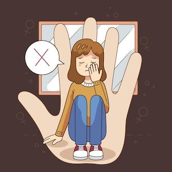 Stop gender geweld illustratie concept